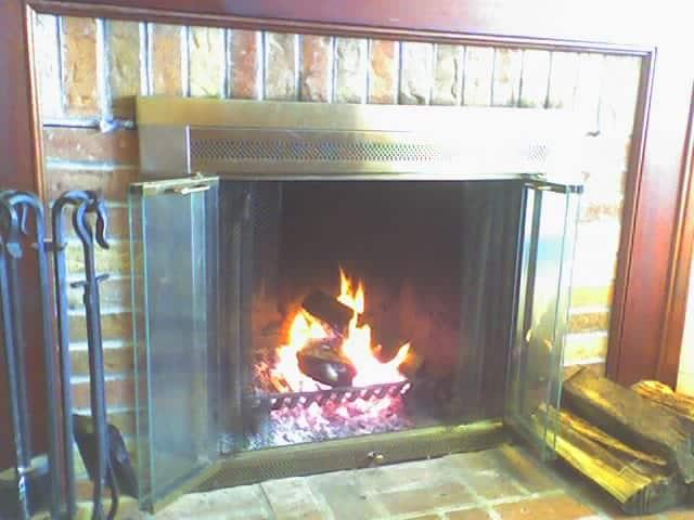 limewash brick fireplace